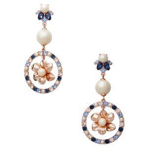 KATE SPADE • Wild Garden Flowers Triple Crystal Pearl Drop Earrings